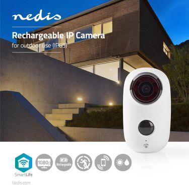 Nedis Rechargeable IP Camera   Outdoor   PIR Motion Sensor   microSD   6000 mAh, WIFICBO10WT