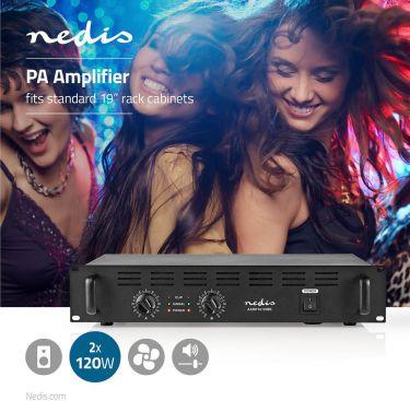 "Nedis PA-forstærker   2 x 120 W   19"", AAMP16100BK"