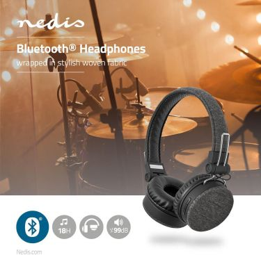 Nedis Fabric Bluetooth® Headphones | On-Ear | 18 hours playtime | Anthracite / Black, FSHP250AT