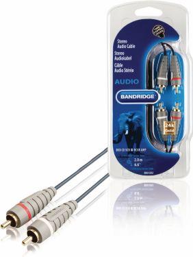 Bandridge Stereo Audio Cable 2x RCA Male - 2x RCA Male 2.00 m Blue, BAL4202