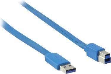 Valueline Usb 3.0-Kabel USB A Han - USB-B Male Fladt 2.00 m Blå, VLMP61110L2.00