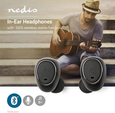 Nedis Trådløse hovedtelefoner   Bluetooth®   In-ear   True Wireless Stereo (TWS)   Opladeretui, HPBT