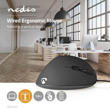 Nedis Ergonomic Wired Mouse | 3200 dpi | 6-Button | Black, ERGOMSWD100BK