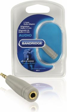 Bandridge Stereo Audio Adapter 2.5 mm Han - 3.5 mm Hun Grå, BAP211