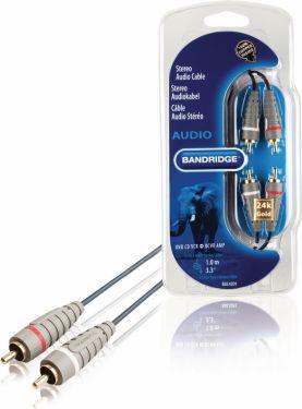 Bandridge Stereo Audio Kabel 2x RCA Han - 2x RCA Han 1.00 m Blå, BAL4201