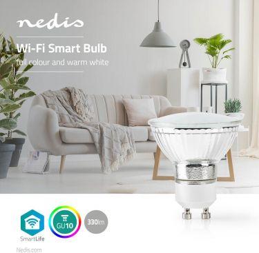 Nedis Wi-Fi Smart LED-pære| Fuldfarve og Varm Hvid | GU10, WIFILC10CRGU10