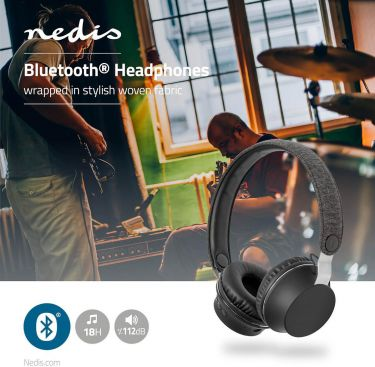 Nedis Fabric Bluetooth® Headphones | On-Ear | 18 Hours Playtime | Anthracite / Black, FSHP150AT