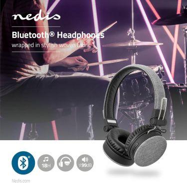 Nedis Fabric Bluetooth® Headphones | On-Ear | 18 Hours Playtime | Grey / Black, FSHP250GY