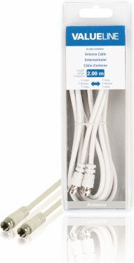 Valueline Antenna Cable F-Male - F-Male 2.00 m White, VLSB41000W20