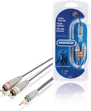 Bandridge Stereo Audio Cable 3.5 mm Male - 2x RCA Male 1.00 m Blue, BAL3401