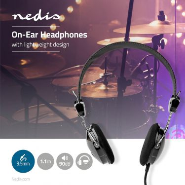 Nedis Wired Headphones | 1.1 m Round Cable | On-Ear | Lightweight | Black, HPWD1104BK