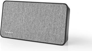 Nedis Fabric Bluetooth® Speaker   15 W   Up to 4 Hours Playtime  Digital Clock   Grey / Black, FSBS1