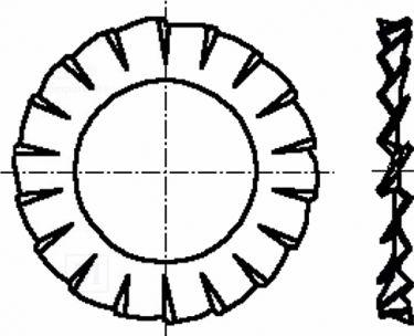 """<span class=""""c10"""">Bossard -</span> Tandskive M6, udvendig takket, D=11mm (10 stk.)"""