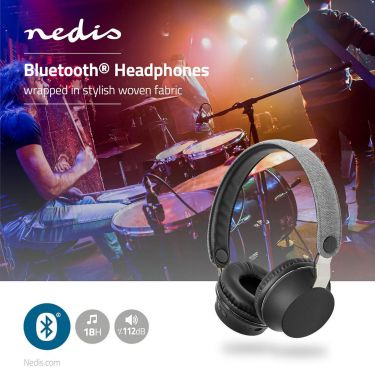 Nedis Fabric Bluetooth® Headphones | On-Ear | 18 Hours Playtime | Grey / Black, FSHP150GY