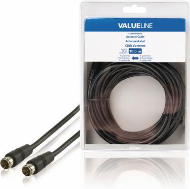 Valueline Antenna Cable F-Male Quick - F-Male Quick 10.0 m Black, VLSB41300B100