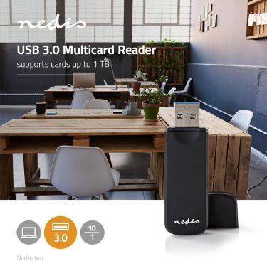 Nedis Kortlæser | Multikort | USB 3.0 | 5 Gbps, CRDRU3100BK