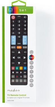 Nedis Replacement Remote Control | Preprogrammed | Control 5 Devices, TVRC4151BK