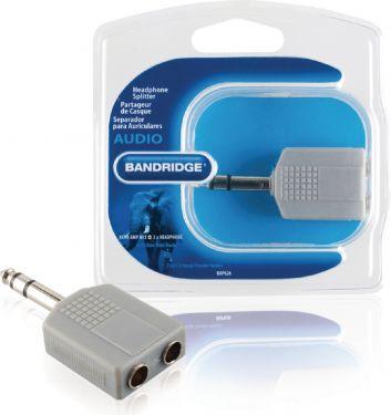 Bandridge Stereo Audio Adapter 6.35 mm Han - 2x 6.35 mm Hun Grå, BAP626