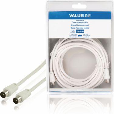 Valueline Coax Cable 90 dB Coax Male - Coax Male 10.0 m White, VLSB40200W100