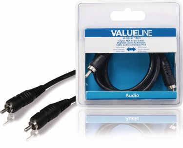 Valueline Digital Audio Cable RCA Male - RCA Male 1.00 m Black, VLAB24170B10