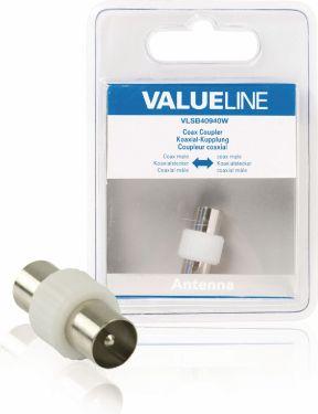 Valueline Coax Adapter Coax Han - Coax Han Hvid, VLSB40940W