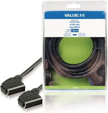 Valueline Scart-Kabel SCART Han - SCART Han 3.00 m Sort, VLVB31000B30