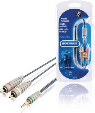 Bandridge Stereo Audio Kabel 3.5 mm Han - 2x RCA Han 5.00 m Blå, BAL3405