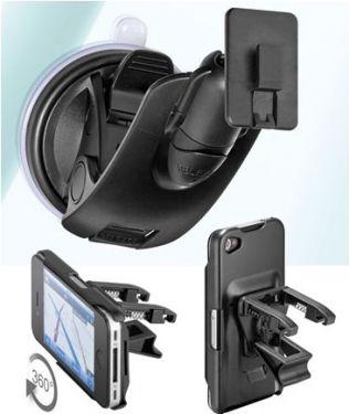 Bilholder til iPhone 4/4s Med sugekop + vent.clip