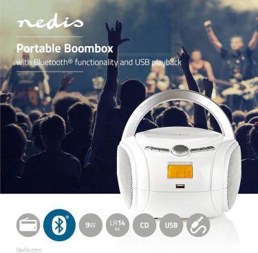 Nedis Bærbart lydanlegg   9 W   Bluetooth®   CD-Spiller/FM-Radio/USB/AUX   Hvit, SPBB100WT