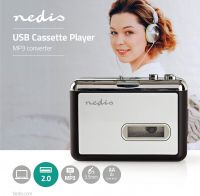 Nedis Portable USB Cassette to MP3 Converter | with USB Cable and Software, ACGRU100GY