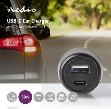 Nedis Car Charger | 3.0 A | USB-A / USB-C | Power Delivery 18 W | Black, CCPD18W100BK