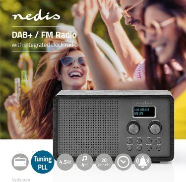 Nedis DAB+ Radio   4,5 W   FM   Clock & Alarm Function   Black, RDDB5110BK