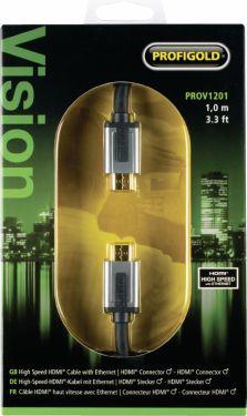 Profigold High Speed Hdmi Kabel Med Ethernet HDMI-Stik - HDMI-Stik 1.00 m Sort, PROV1201