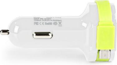 Sweex Biloplader 3-Udgange 6 A 2 x USB / Micro USB Hvid/Grøn, CH-023WH