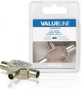 Valueline Coax Adapter Coax Han - 2x Coax Hun Sølv, VLSB40951M