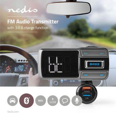 Nedis Car FM Transmitter | Bluetooth® | Bass Boost | MicroSD Card Slot | Hands-Free Calling | Voice