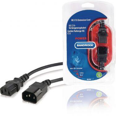 Bandridge Power Extension Cable IEC-320-C14 - IEC-320-C13 5.00 m Black, BPL2705