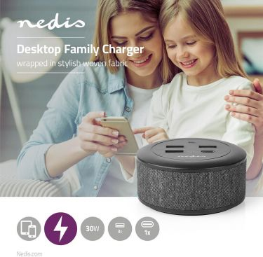 Nedis Fabric Desktop Family Charger | 3x USB 2.1 A (Max.) | 1x USB-C™ 18 W PD | Black, FSCSPD100BK