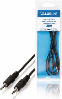 Valueline Stereo Audio Kabel 3.5 mm Han - 3.5 mm Han 1.50 m Sort, VLAB22000B15