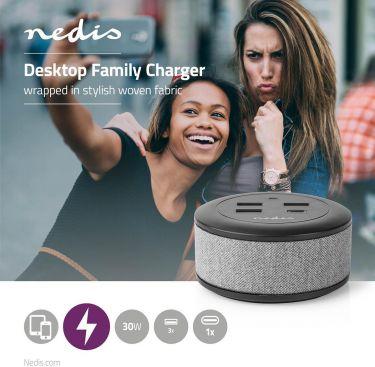 Nedis Bordfamilieoplader med stof   3x USB 2.1 A (maks.)   1x USB-C™ 18 W PD   Grå, FSCSPD100GY