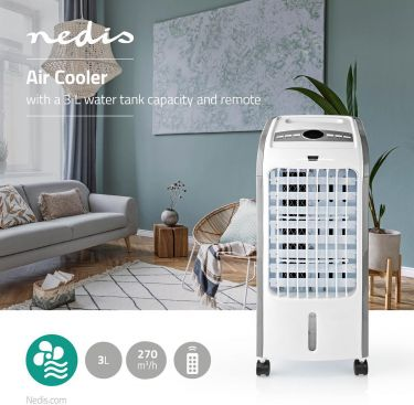 Nedis Air Cooler | 3 L | 270 m³/h | Timer | Remote Control, COOL115CWT