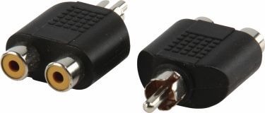 Valueline Mono Audio Adapter RCA Male - 2x RCA Female Black, AC-016