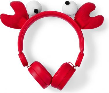 Nedis Wired Headphones | 1.2 m Round Cable | On-Ear | Detachable Magnetic Ears | Chrissy Crab | Red,