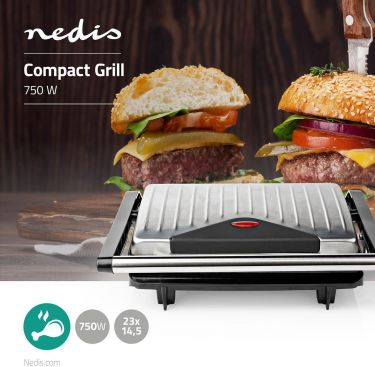 Nedis Compact Grill | 750 W | Aluminium, KAGR110SR