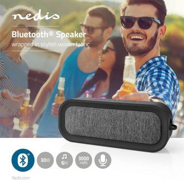 Nedis Bluetooth®-stofhøjttaler   30 W   Op til 6 timers spilletid   Vandtæt   Antracit/sort, FSBS100