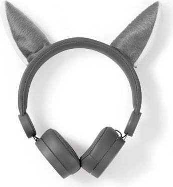 Nedis Wired Headphones | 1.2 m Round Cable | On-Ear | Detachable Magnetic Ears | Willy Wolf | Grey,