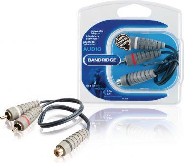 Bandridge Subwoofer Audio Cable 2x RCA Male - RCA Female 0.20 m Blue, BAL4600