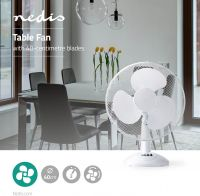 Nedis Table Fan | 40 cm Diameter | 3-Speeds | Oscillation Function | White, FNTB10CWT40