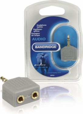 Bandridge Stereo Audio Adapter 3.5 mm Han - 2x 3.5 mm Hun Grå, BAP424
