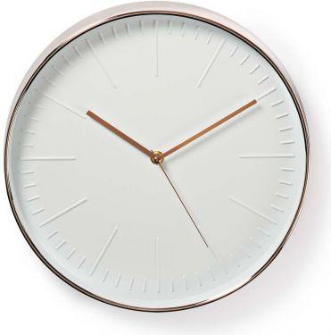 Nedis Rundt vægur | 30 cm i diameter | Hvid og rosaguld, CLWA013PC30RE
